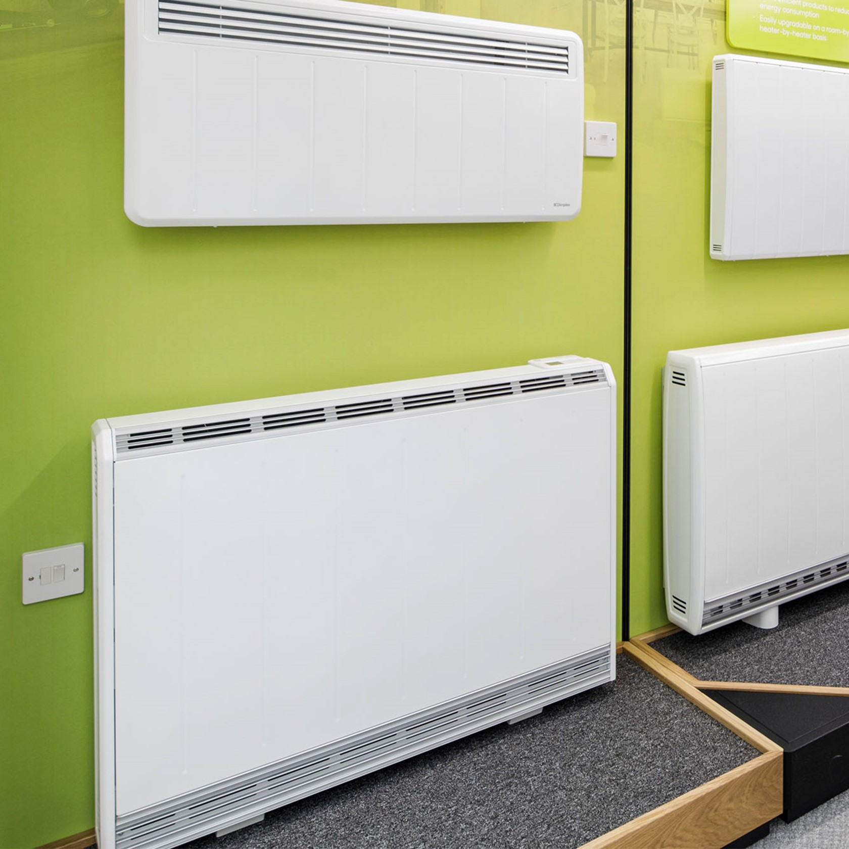 Storage heaters on display in the Smarter Living showroom.
