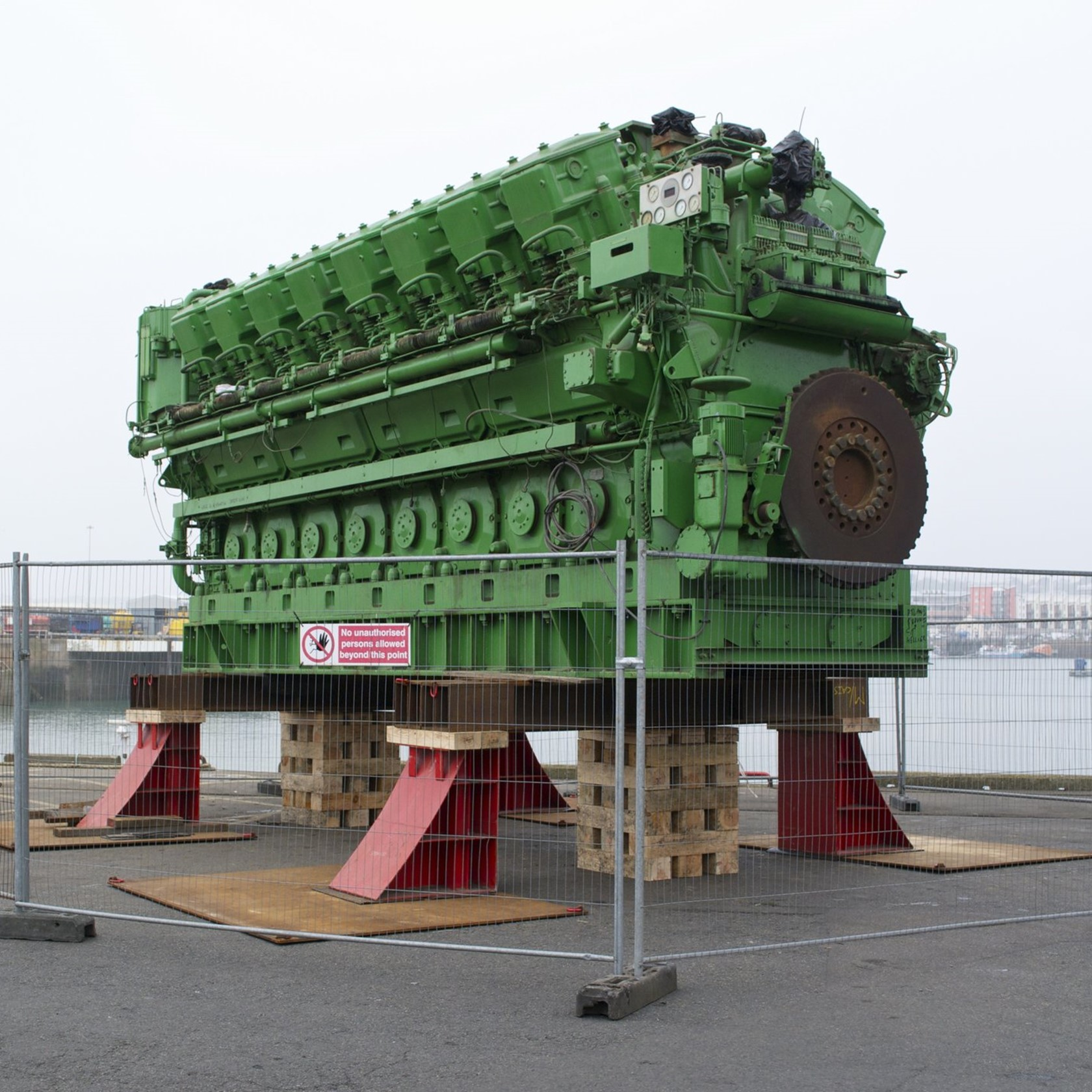 One of the two Sulzer Diesel Generators destined for La Collete sits on the docks in St Helier.