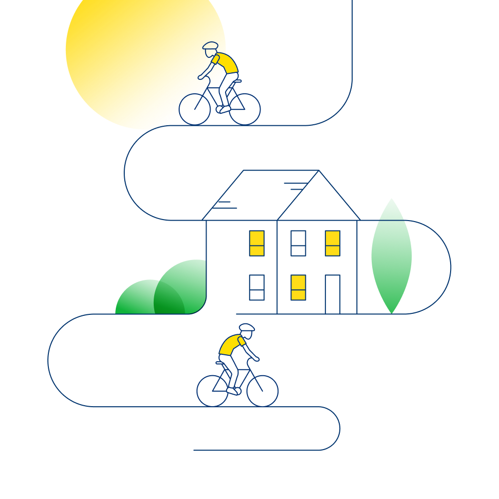 An illustration that shows a sunlit home and two cyclist riding away from it.