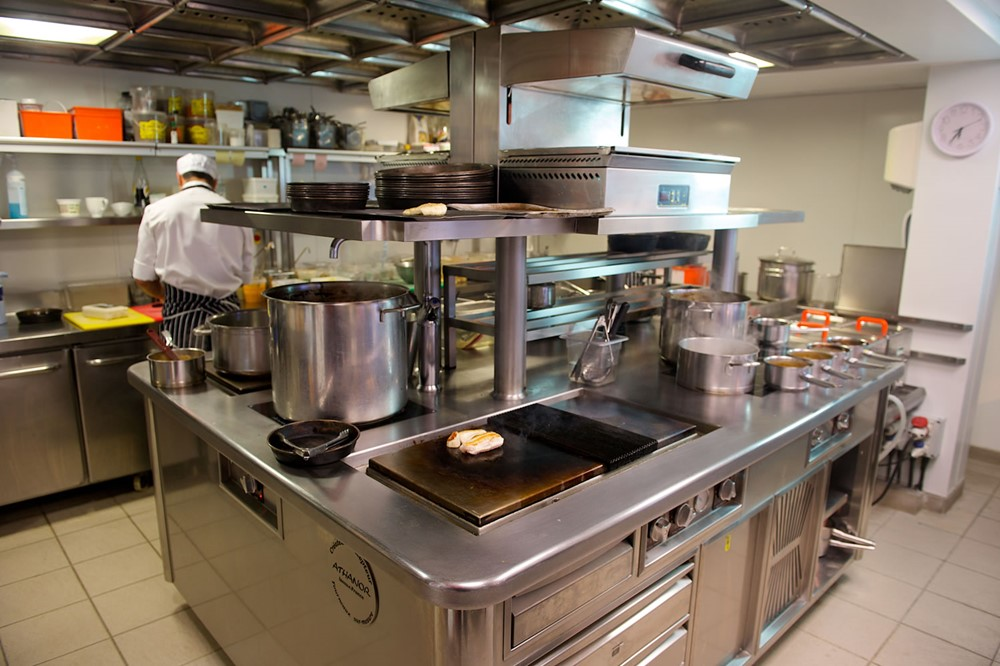 Inside a commercial kitchen supplied and fitted by Jersey Deep Freeze.