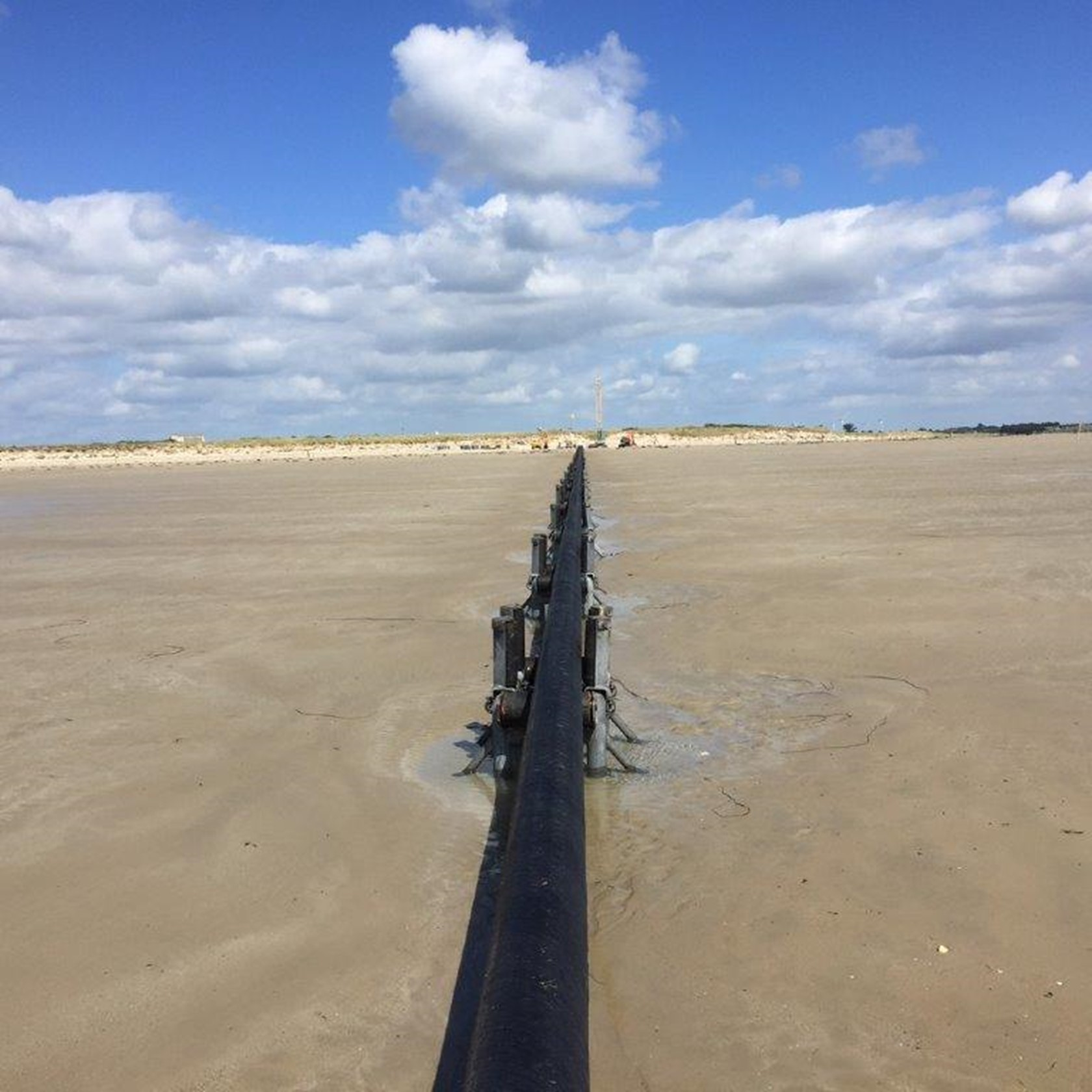 Normandie 3 subsea cable before being buried on under the sand in France.
