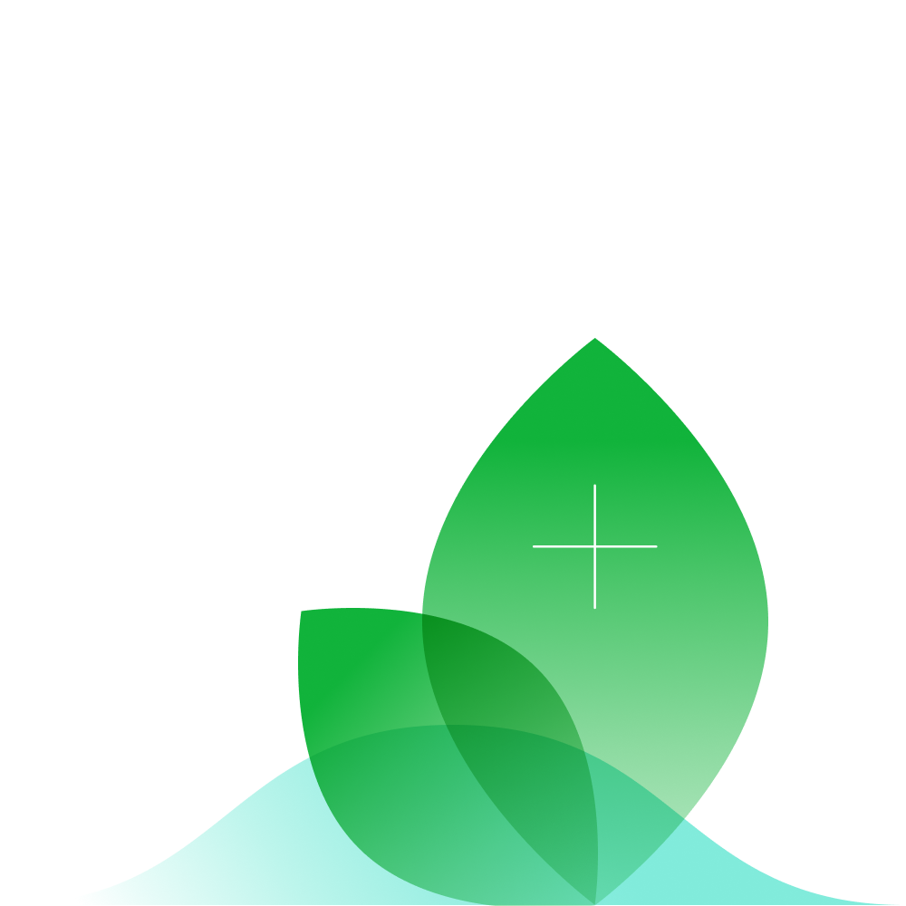An illustration of a leaf and the sea with a plus icon laid over the top.