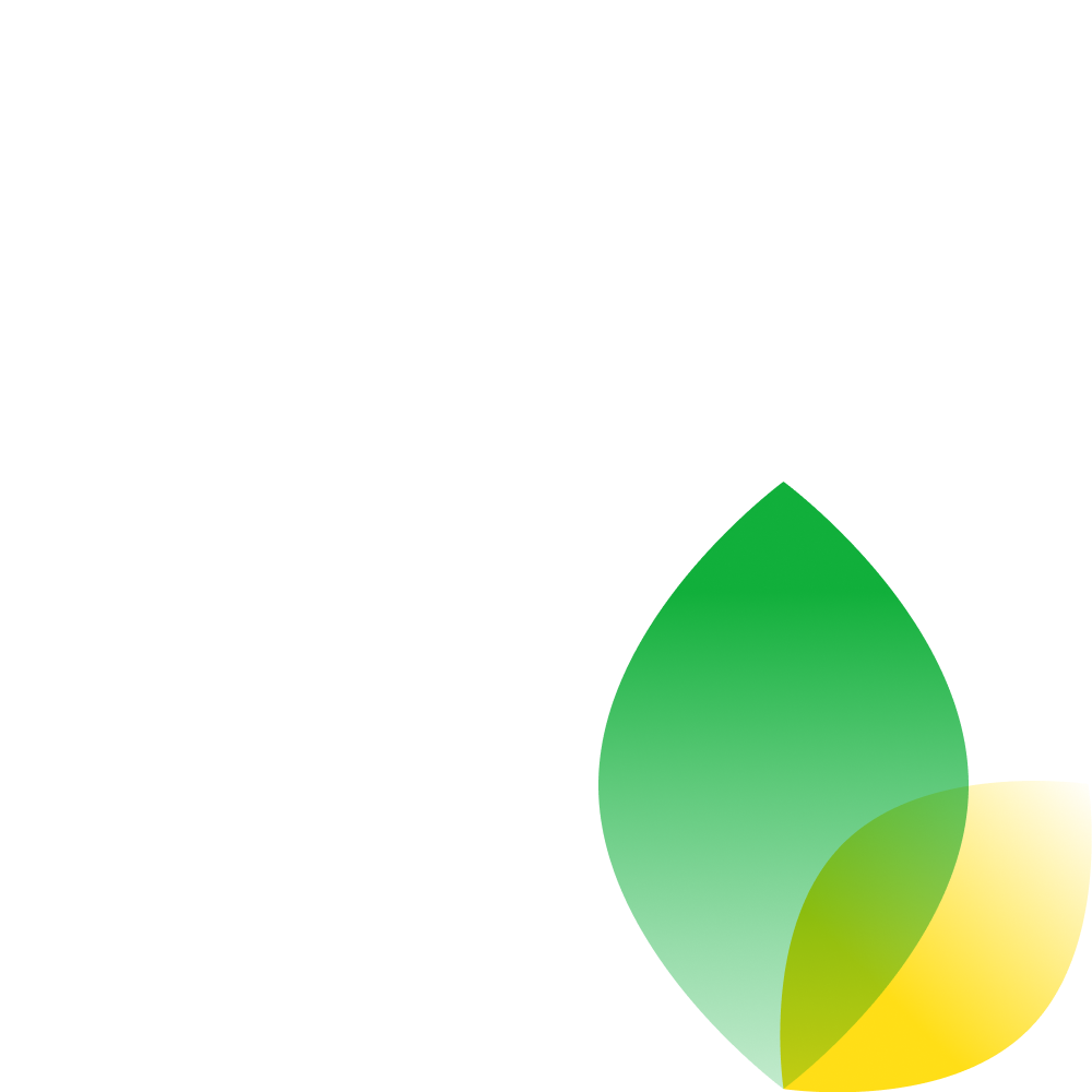 An illustration that shows two leaves, one green, one yellow.