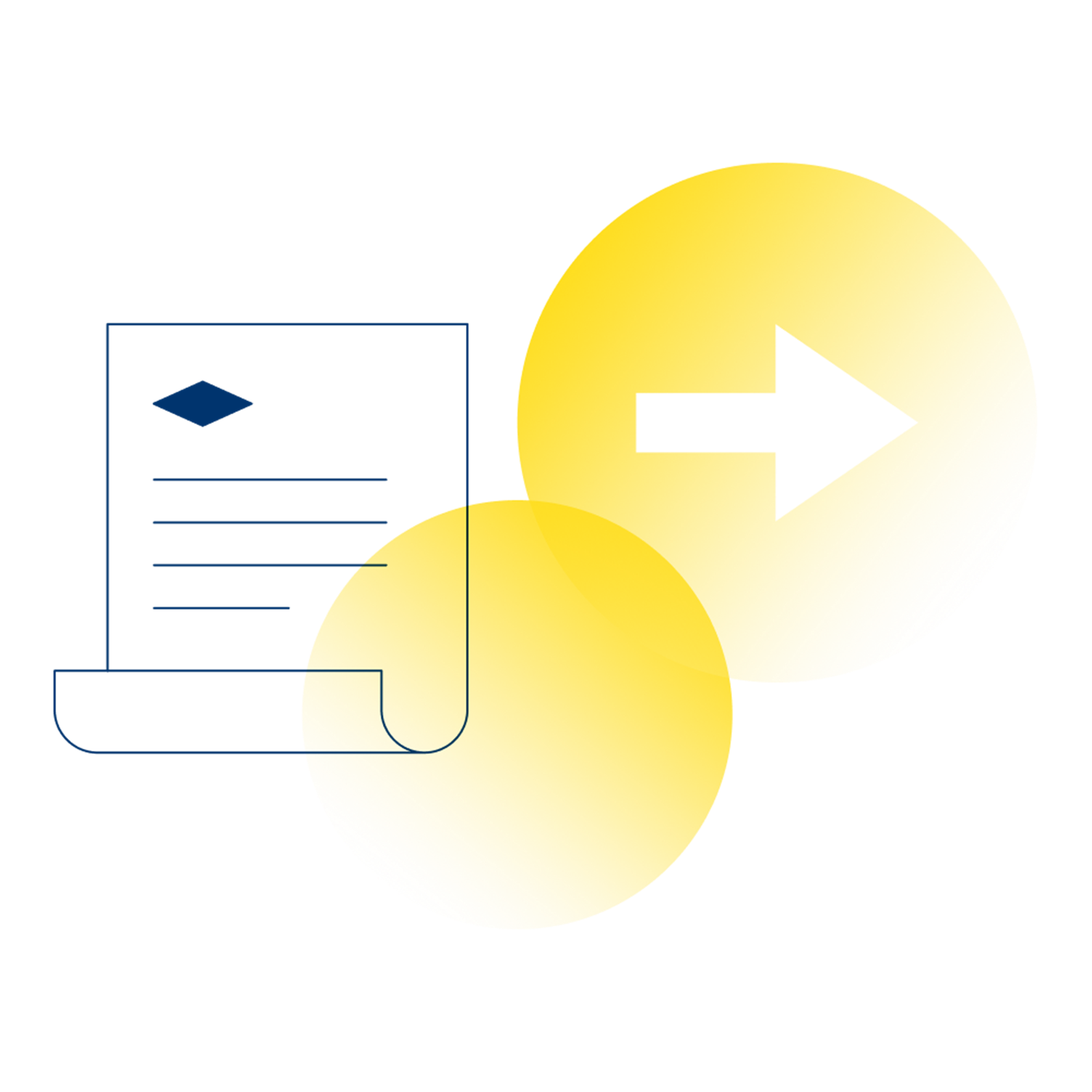 An illustration of a document or bill infront of two yellow circles.