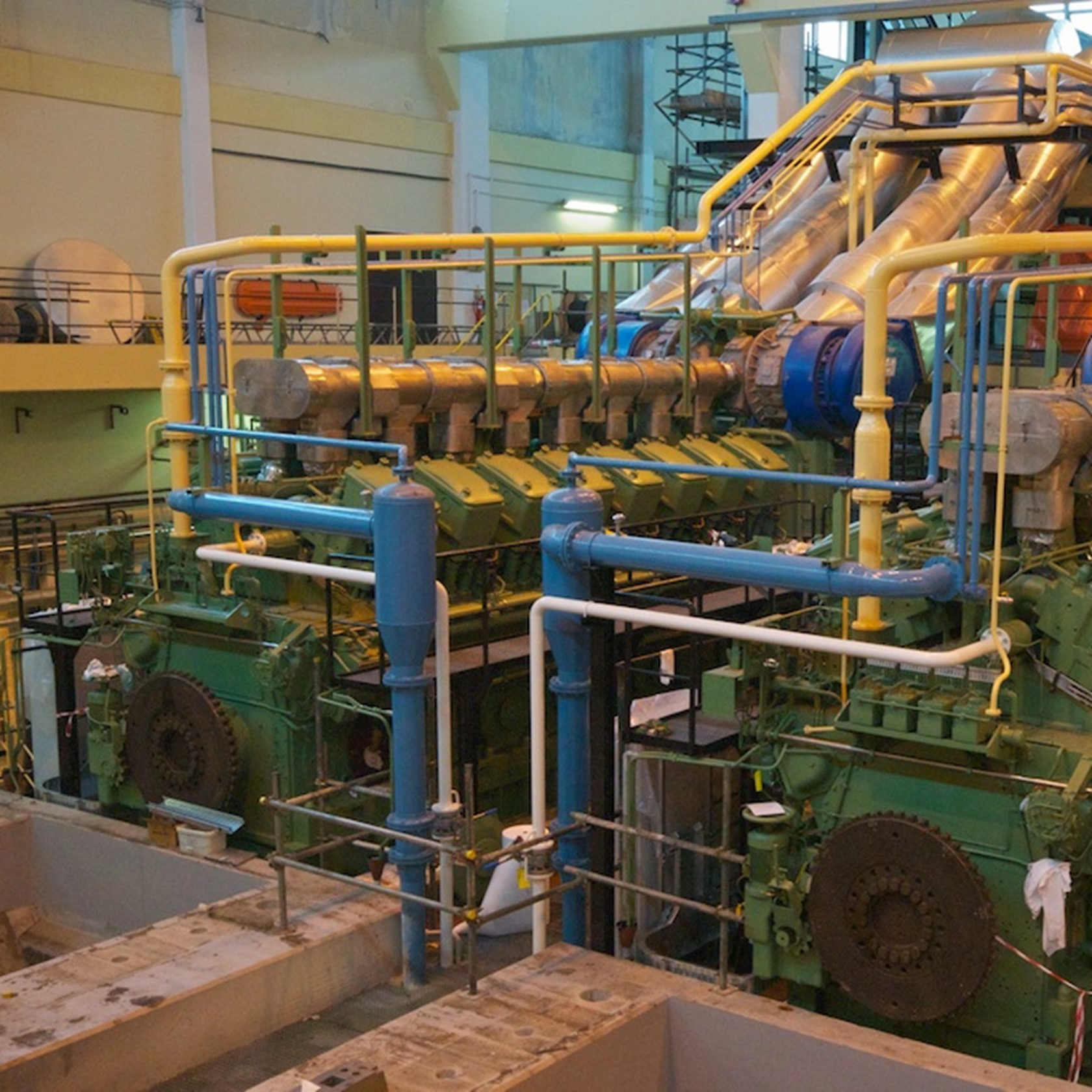The two Sulzer Diesel Generators working together to produce power for the island,
