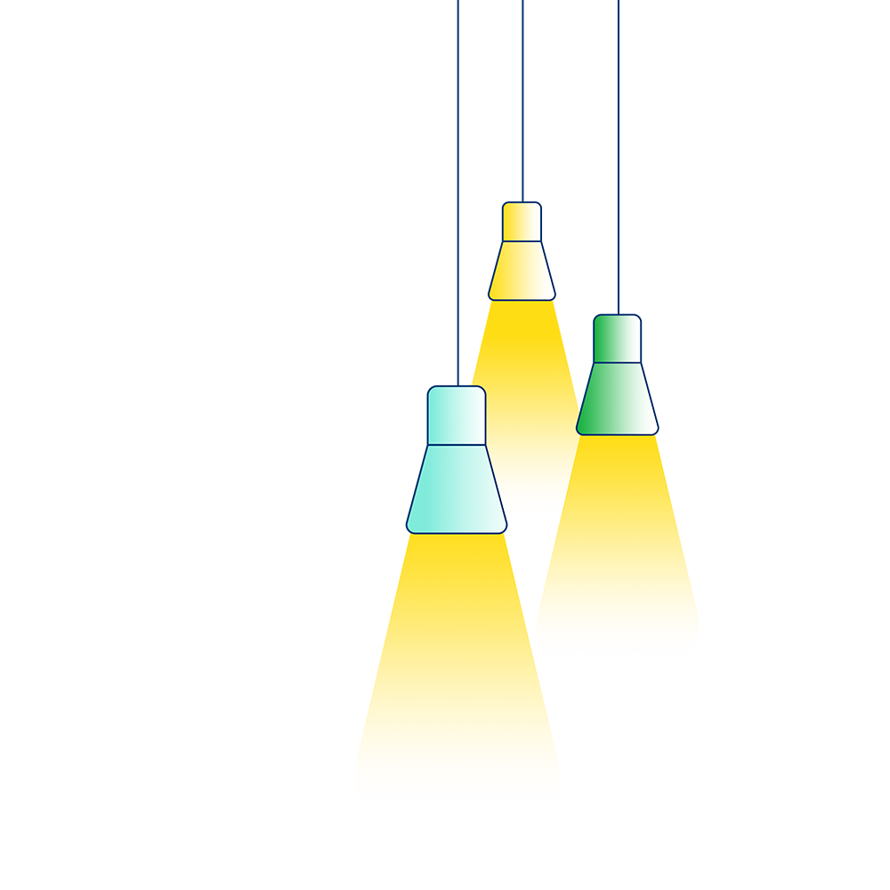 An illustration which shows three hanging lights with their bulbs switched on.