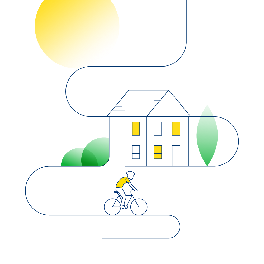 An illustration that shows a sunlight home and a man cycling away from it.