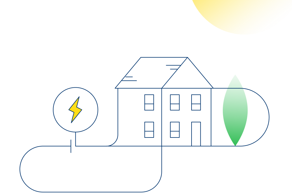An illustation of a sunlit home with an icon representing disconnected electricity.